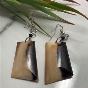 Handcrafted Nubian Horn Drop Earrings